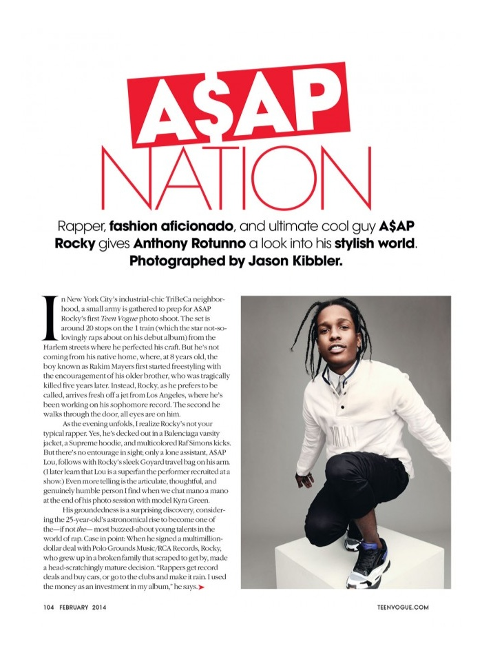 A$AP ROCKY EXPLAINS HIS FASHION SENSE TO TEEN VOGUE